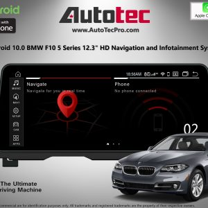 BMW 5 Series (2011 – 2018) F10 F11 OEM-FIT 12.3″ HD Touch-Screen Android Navigation System | GPS | BT | Wifi | 4G LTE | CarPlay