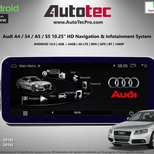 AUDI A4 / A5 (2009 – 2016) OEM FIT 10.25″ / 12.3″ HD Touch-Screen Android Navigation System | GPS | BT | Wifi | Camera | CarPlay | MMI-3G | MMI-3G+