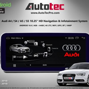 AUDI A4 / A5 (2009 – 2016) OEM FIT 10.25″ HD Touch-Screen Android Navigation System | GPS | BT | Wifi | Camera | CarPlay